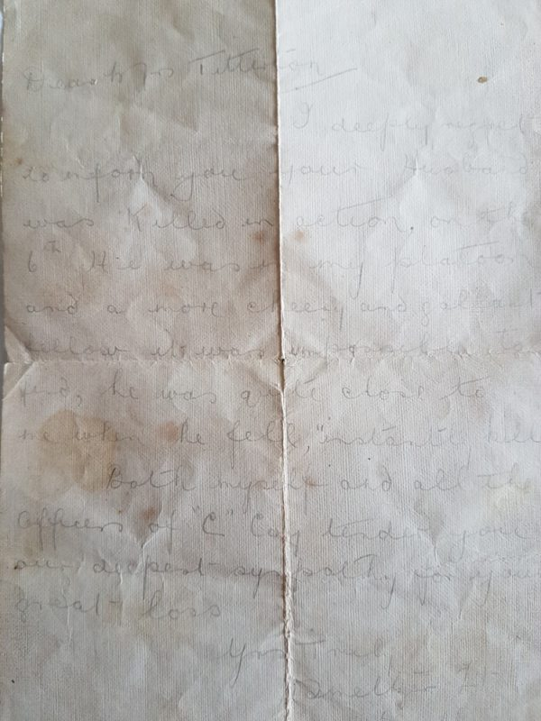 Handwritten Condolence Letter from Lt Smeltzer