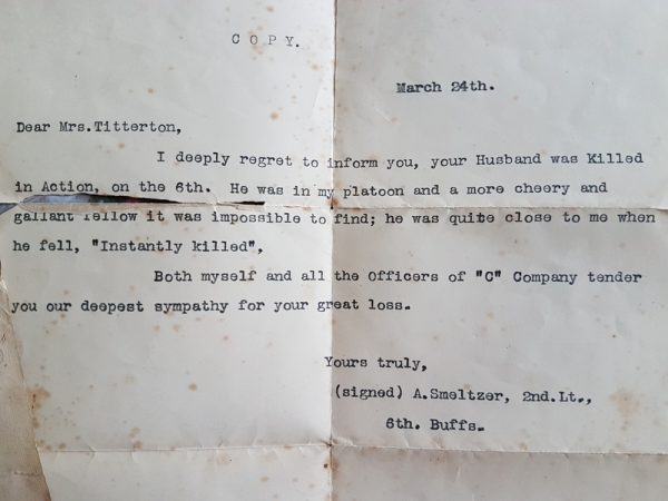 Transcript of Condolence Letter from Lt Smeltzer