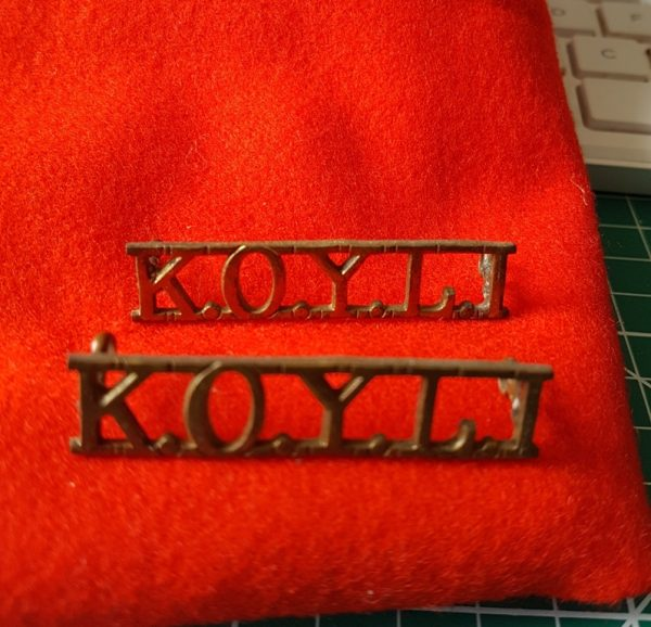 Kings Own Yorkshire Light Infantry Shoulder Title PAIR