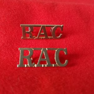 Royal Armoured Corps RAC Shoulder Title PAIR
