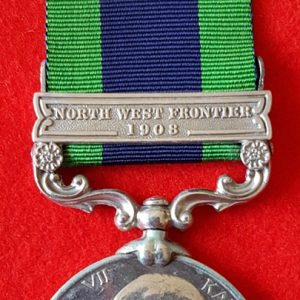 India General Service Medal 1908 with North West Frontier 1908 Clasp