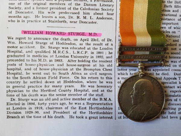 Anglo Boer War Medal to a Civil Surgeon