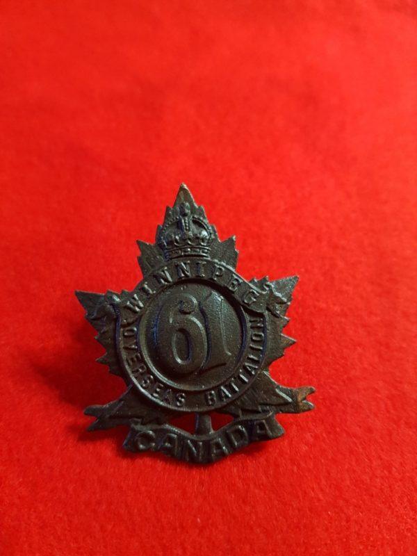61st WINNIPEG BATTALION Canadian Cap Badge
