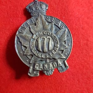 177th Overseas Battalion Simcoe Foresters Cap Badge