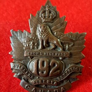 192nd Battalion Crowsnest Pass Collar Badge