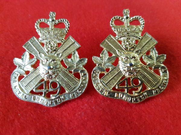 49th Loyal Edmonton Regiment Collar Badge Pair