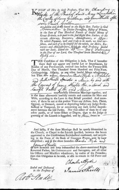 Marriage agreement 1786