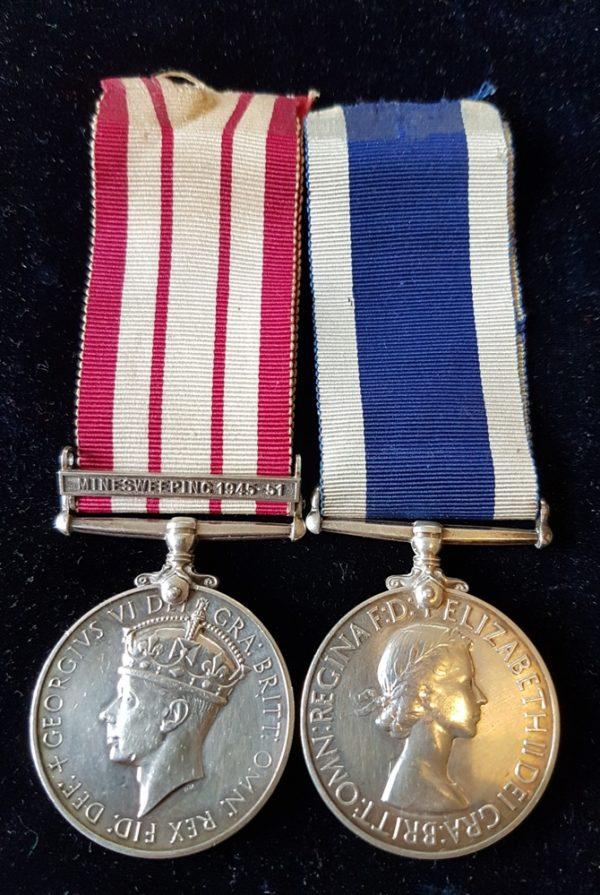 Minesweepeing NGSM Medal Pair HMS Bellerophon