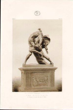 The Grapplers A Group in Bronzed Zinc by J P Molin
